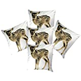 Belive-Me Deer Printed White Decorative Cushion Covers (16X16 Inches) Set Of 5