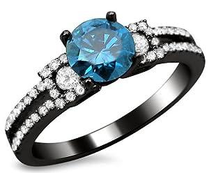 1.16ct Fancy Blue Round Diamond Engagement Ring 18k Black Gold Rhodium Plating Over White Gold