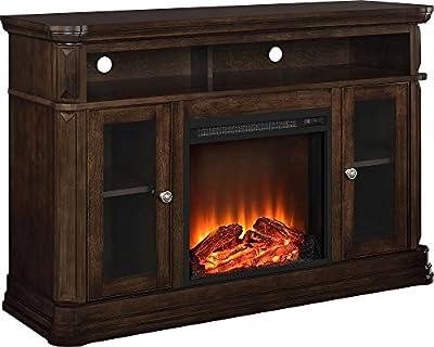 """Altra Furniture Brooklyn Fireplace TV Stand, 55"""", Espresso"""