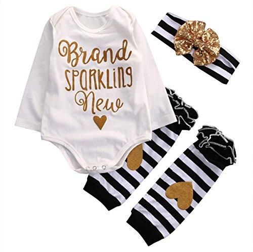 4 PC Newborn Baby Girl Headband +Romper+ Leg Warmer Bodysuit Clothes Outfit (0-6 Months, White)