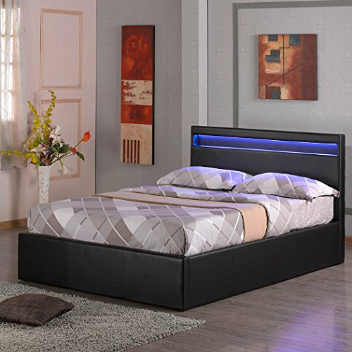 TOKYO LED LIGHT HEADBOARD 4FT 6IN FAUX LEATHER OTTOMAN STORAGE BED w GAS LIFT BASE -DOUBLE   KING - BLACK   BROWN...