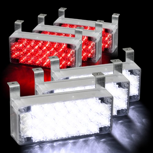 132 Led Emergency Warning Flashing Strobe Lights With 3 Mode Controller - White & Red