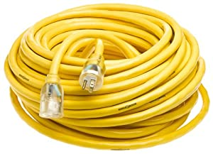 Yellow Jacket 2806 10/3 Heavy-Duty 15-Amp SJTW Contractor Extension Cord with Lighted End, 100-Feet