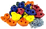 Squirrel Products 20 Assorted Rock Climbing Holds with Hardware for up to 1 inch Thick Installation - Swing Set Accessories
