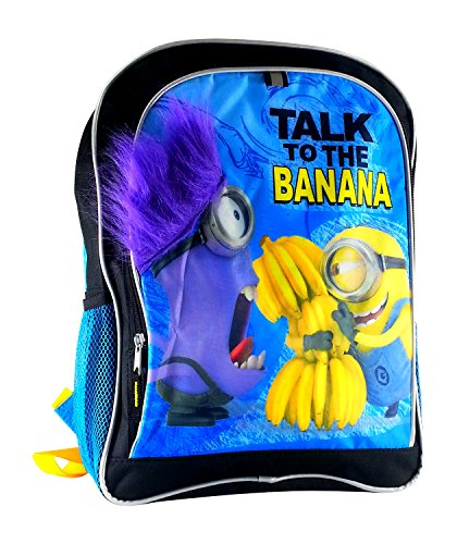 "16"" Despicable Me 2 Large Backpack w/ Fuzzy Purple Arms - Talk to the Bananana - 1"