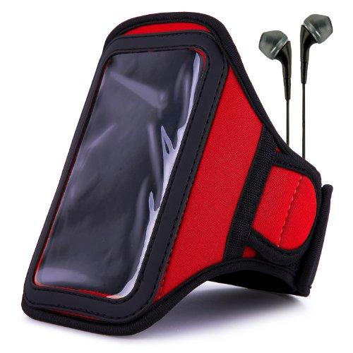 Vangoddy Armband - Fire Red Neoprene Sweat-Proof W/ Key & Id Card Pouch For Apple Ipod Touch 5 Retina Display + Black Handsfree Microphone Headphones