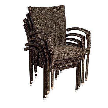 Bari 4 Piece Wicker Patio Armchair Set With Chanasya Polish Cloth