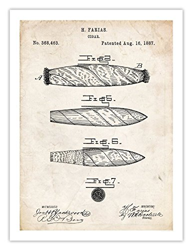 CIGAR INVENTION POSTER 1887 US PATENT PRINT 18X24 FARIAS SMOKE SMOKING HUMIDOR VINTAGE REPRO GIFT (Vintage Humidor compare prices)