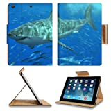 Animal Wildlife Great White Shark Ocean Predator Underwater water Jaws Apple Ipad Air Retina Display 5th Flip situation Stand Smart Magnetic Cover Open Ports Customized Made to Order Support prepared Premium Deluxe Pu Leather 9 7/16 Inch (240mm) X 7 5/16 Inch (185mm) X 5/8 Inch (17mm) Luxlady Ipad expert Ipad generation add-ons Retina show Graphic Background Covers Designed Model Folio Sleeve HD Template Designed Wallpaper Photo Jacket Wifi 16gb 32gb 64gb deluxe Protector