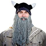 Beard Head Barbarian Pillager - Grey / Black Beanie with horns + Long Knitted & Plaited Grey Beard