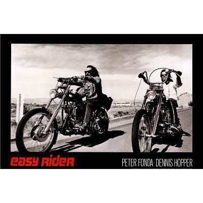 (24x36) Easy Rider Movie (Dennis Hopper & Peter Fonda on Motorcycles, Black) Poster Print