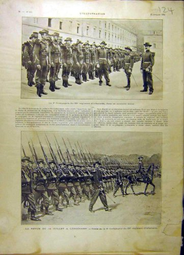 old-original-antique-victorian-print-1903-8th-company-infantry-review-longchamp-french-24lil1