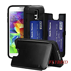 Galaxy S5 Case,ID/Credit Card Holder Case[Shockproof][Scratch Resistant][Drop Resistant]Ultra Sleek Thin Dual Layer Impact TPU+PC Hybrid Hard Case with Discreet Credit Card / ID Slot for the Samsung Galaxy S5 (Black)