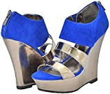 Bamboo Smooch-11 Blue Women Wedge Sandals