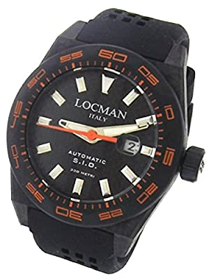 Locman Stealth 300 Meter Automatic Dive Watch with 46mm Titanium and Carbon Fiber Case 216BKPVCRBORBK