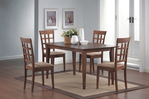 Black friday 5pcs wheat back walnut finish dining table for Dining table set deals