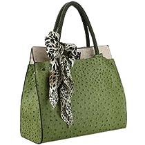 Hot Sale MG Collection DORIT Green / Beige Ostrich Embossed Shoulder Tote Style Handbag