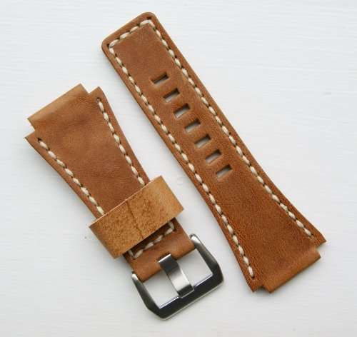 Handsewn Ammo Pouch Style Watchband for Bell & Ross BR01 BR03 in Oak Leather/Ivory Stitch Short