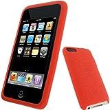 igadgitz Silikon Hülle Etui Case Schutzhülle Tasche in Rot für Apple iPod Touch 2G 2.Gen Generation & 3G 3.Gen Generation 8gb, 16gb, 32gb & 64gb + Display Schutzfolie