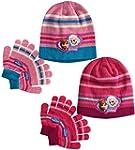 Girls Disney Frozen Pink Hat And Glov...