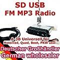 A-500 AU - 12V Motorrad MP3 FM Player USB SD mit Aussenlautsprechern + Kabelfernbedienung von ncXus - Reifen Onlineshop