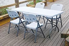 6FT FOLDING GARDEN BANQUET TRESTLE CAMPING WHITE TABLE