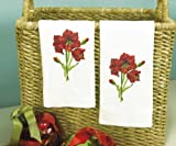 Dimensions Crafts Stamped Cross Stitch Guest Towels, Amaryllis