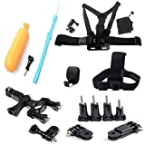 AFUNTA 12-in-1 Accessories Bundle Kit Ultimate Combo for GoPro Hero 4 Hero 3+ Hero 3 Hero 2 Digital Camera, Elastic Adjustable Head Strap Mount + Chest Mount Harness Mount with 3-way Adjustment Base & Bag + Head Quick Clip with Screw + Floaty Bobber with