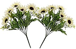 Fourwalls Artificial Sunflower Bouquet (34 cm, White, Set of 2)