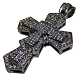 3D Micropave CZ stone Cross & hiphop bling chain - Silver Plated