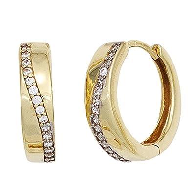 Creoles Earrings 15.4 mm Earrings 333 White Gold with Zirconia Ladies Regenbogen