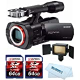 Sony NEX-VG900 Full-Frame Camcorder (Black) + Sony HVL-LE1 LED Video Light + Two 64GB Cards