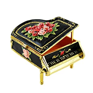 Victorian Grand Piano Musical Trinket Jewelry Box Jeweled Black Large