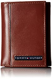 Tommy Hilfiger Men\'s Leather Cambridge Trifold Wallet, Tan, One Size