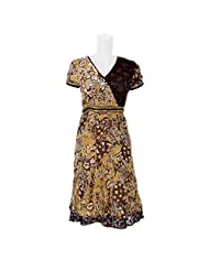 Aruna Singh Printed Dress In Brown/Dark Brown Cotton Dress For Women