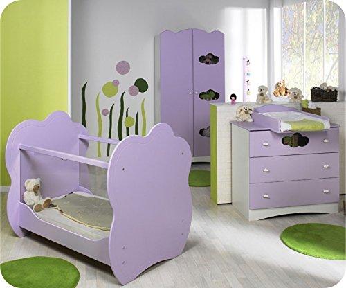 Babyzimmer komplett Altea weiß lila mit Wickelfläche günstig
