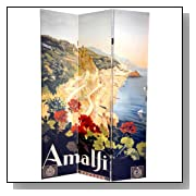 Double Sided Amalfi Italian Riviera Canvas Room Divider