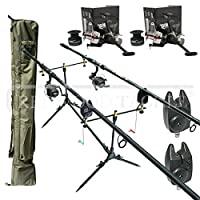 Complete Carp Kit with 2 x 12ft 2.5tc Rods, 2 Reels with line, 2 Bite Alarms, Pod, 2+2 Rod Holdall by REDWOODTACKLE