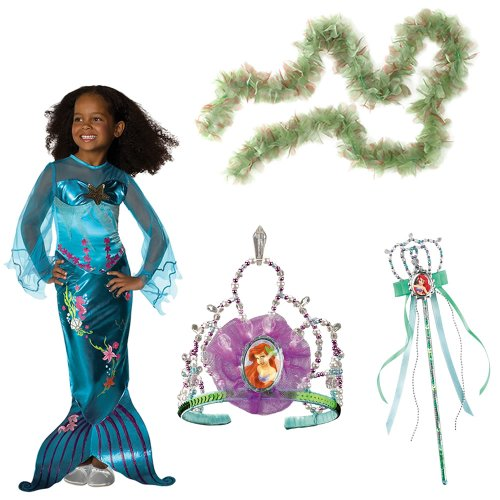 Magical Mermaid Costume Toddler (2T-4T) Including Boa, Ariel Tiara and Wand