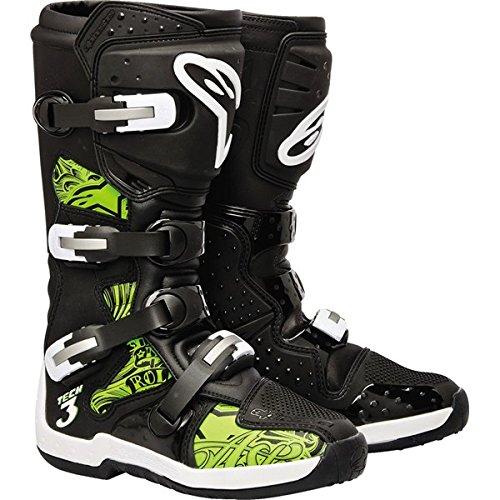 Alpinestars-Tech-3-Chrome-Boots-Black-Green-Motocross-Size-9-3410-0857
