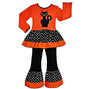 AnnLoren Girls - Boutique Black Cat Tunic & Pants Halloween Clothing
