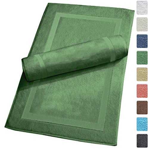 Luxury Hotel and Spa 100% Turkish Cotton Banded Panel Bath Mat Set 900gsm! (Green, 2 Pack)