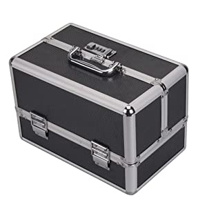 Black Lockable Handle Aluminum Cosmetic Makeup Case
