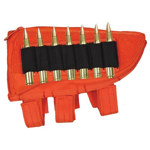 Ultimate Arms Gear Tactical Safety Orange Righty Hand Shooters Rifle Ammo Round Shot Shell Cartridge Stock Buttstock Slip Over Carrier Holder w/ Utility Storage Compartment Fits Howa Hogue .243 .25-06 .270 .308 .30-06 Models Universal Bolt Lever Pump Action Sniper Hunting Rifle