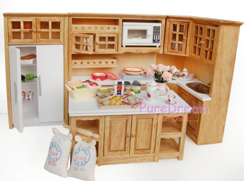 Oak Dollhouse Kitchen Cabinet W Stove Basin Dining Island Ice Box