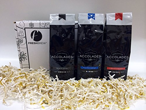 Coffee Holiday Gift Box Set, Pacific Coast, Black Satin & French Roast