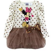 "Disney Minnie Mouse ""Gold Dots"" Vanilla Tulle Dress 2T-5T (3T)"