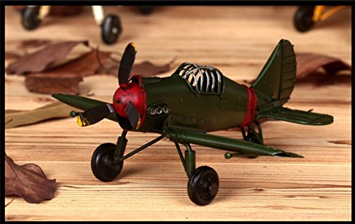 Berry President® Vintage / Retro Wrought Iron Metal Propeller Airplane Plane Aircraft Handicraft Models -The Best Choice for Photo Props/christmas Gift/home Decor/ornament/souvenir Study Room Desktop Decoration (Green)