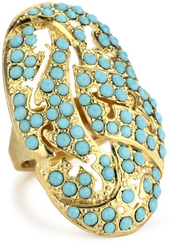 Lisa Stewart Oval Cocktail Turquoise Crystal Ring, Size 8