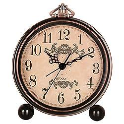 HENSE 5 Classic Retro Antique Design European Style Decorative Mantel Clock Mute Silent Quiet Quartz Movement Metal Frame Desk Table Alarm clock HA65 (Arabic-Modern)